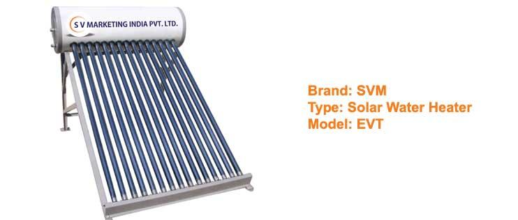 SVM solar water heater EVT